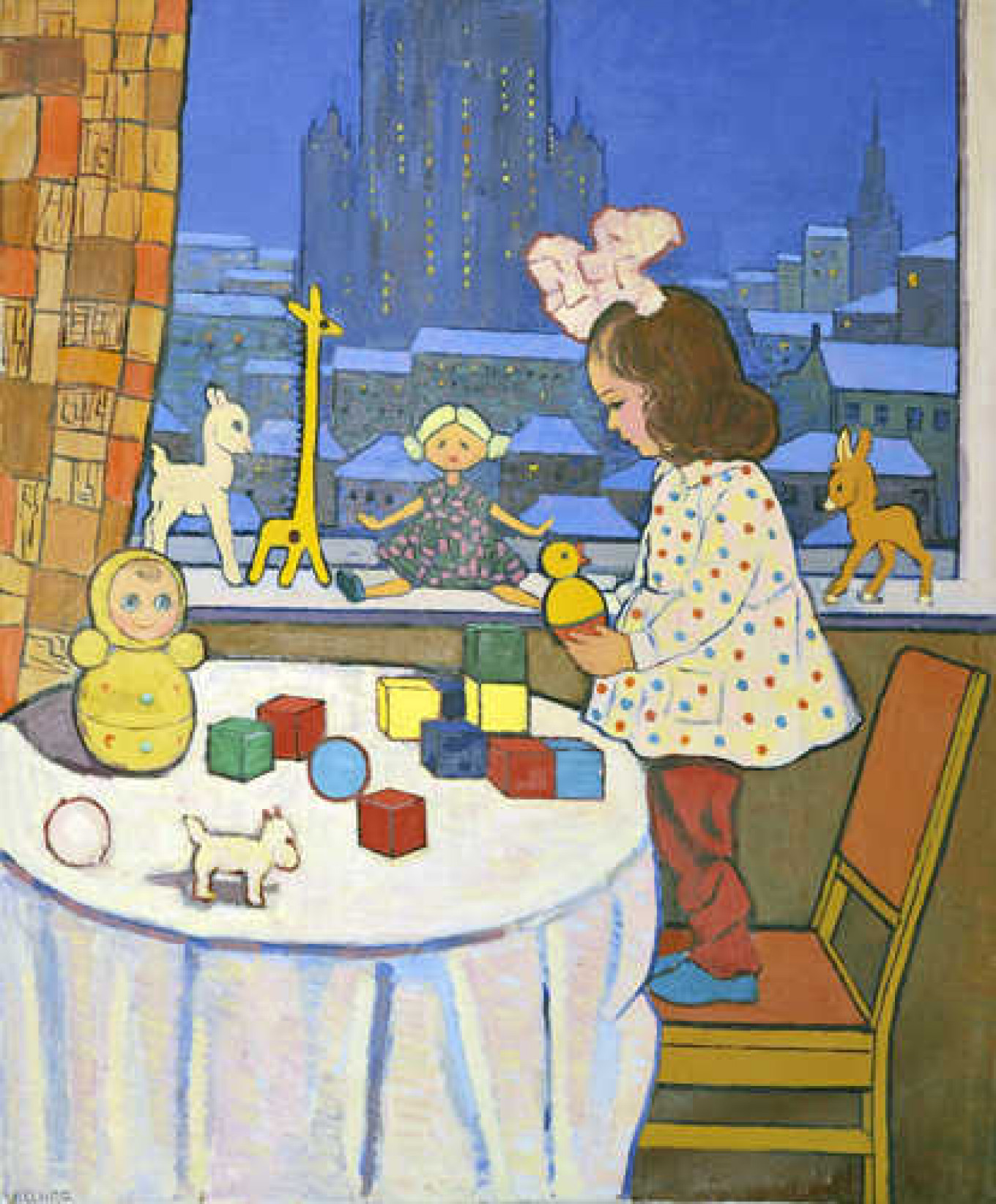 """Akopyan's """"Girl With Toys"""" was painted in the 1960s in a modernist style. Courtesy of NB Gallery"""