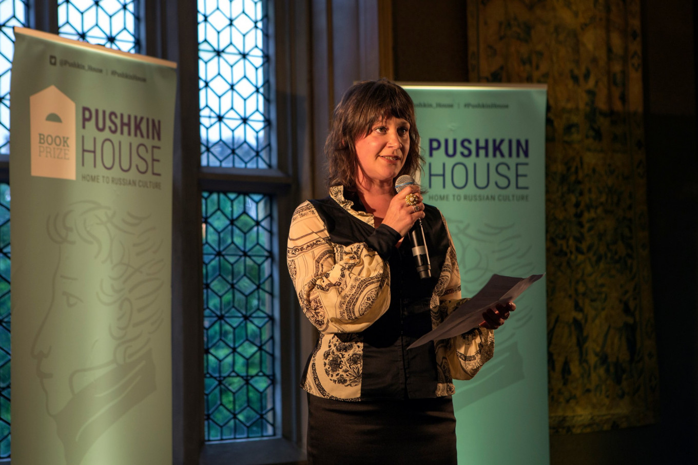 Pushkin House executive director Clementine Cecil at the awards ceremony.				 				Luke Tchalenko