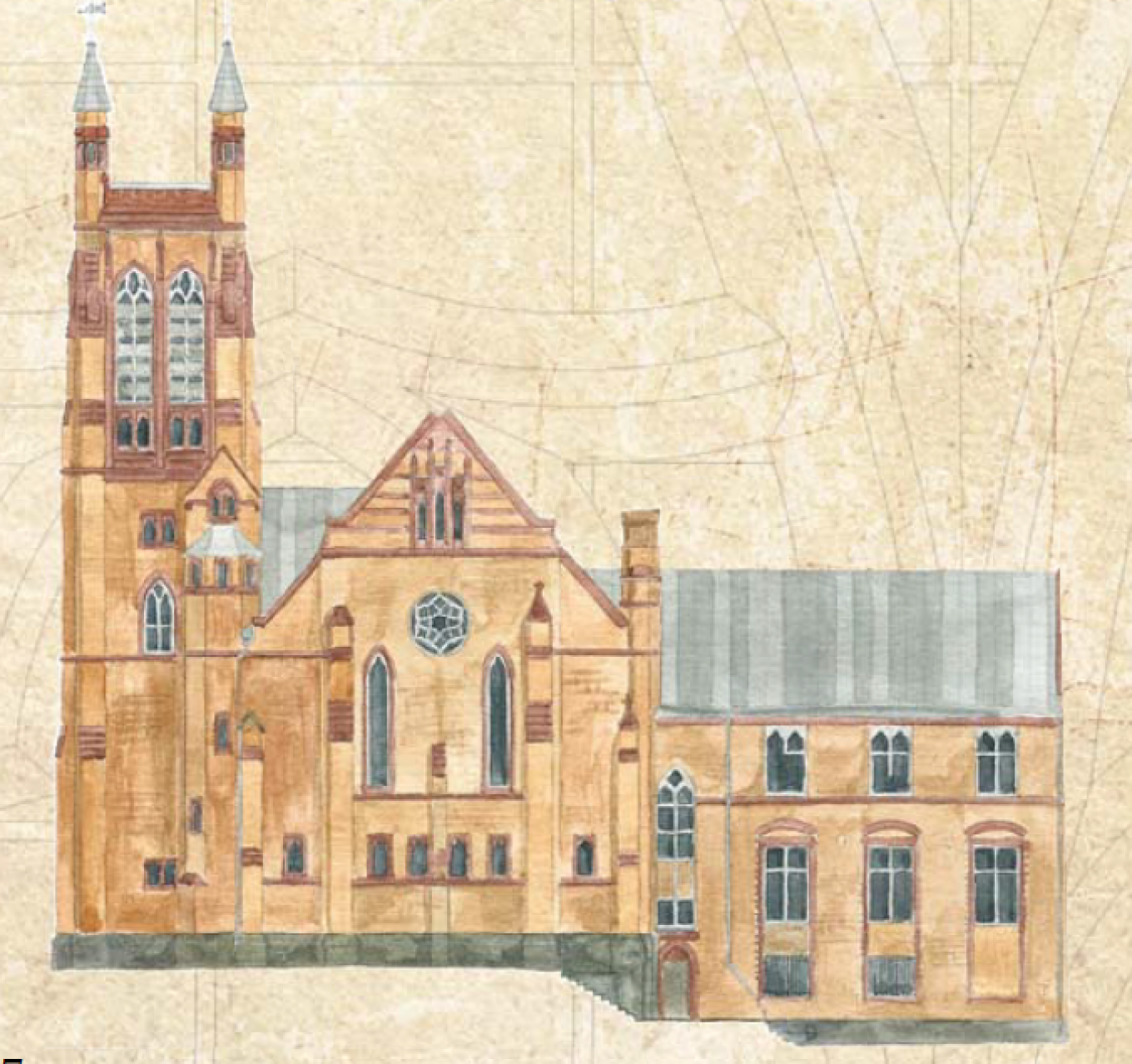 An architectural drawing of the neo-Gothic church. Courtesy of St. Andrew's.