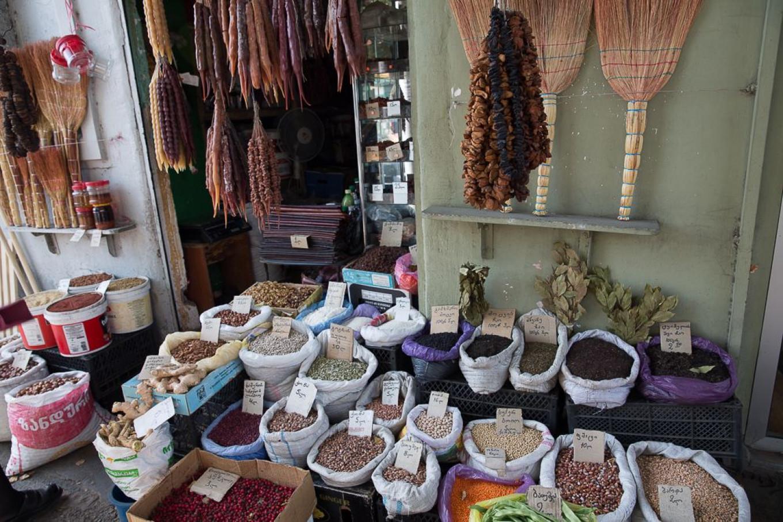 Nuts at Tbilisi market Jennifer Eremeeva / MT