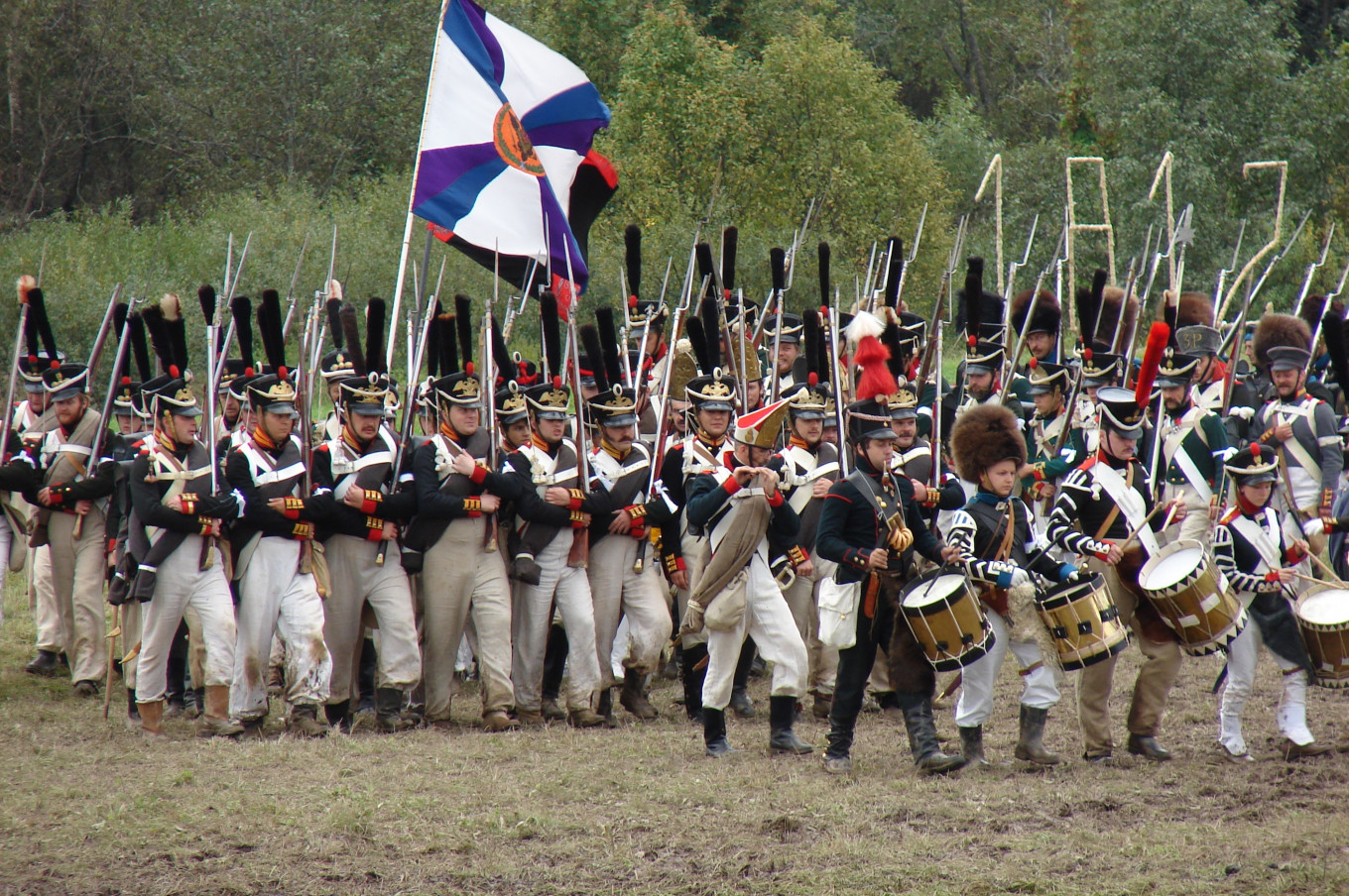 The Russian infantry marches to meet Napoleon's army.  Archive International Military Historical Association.
