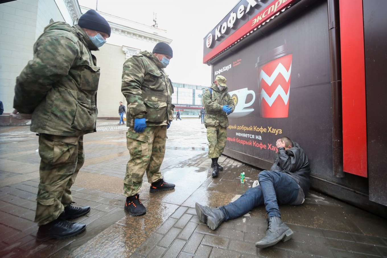 Police reportedly arrested a homeless man.				 				Sergei Vedyashkin / Moskva News Agency