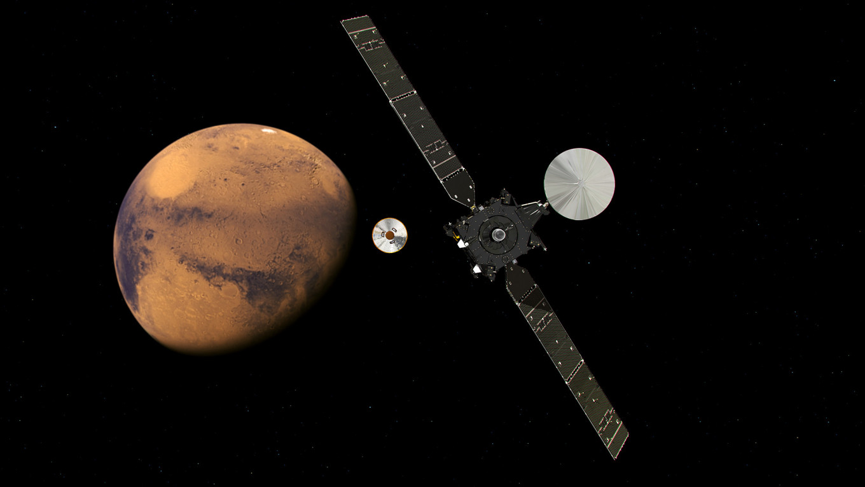Graphic depicting Sunday's separation of Schiaparelli and TGO near Mars European Space Agency