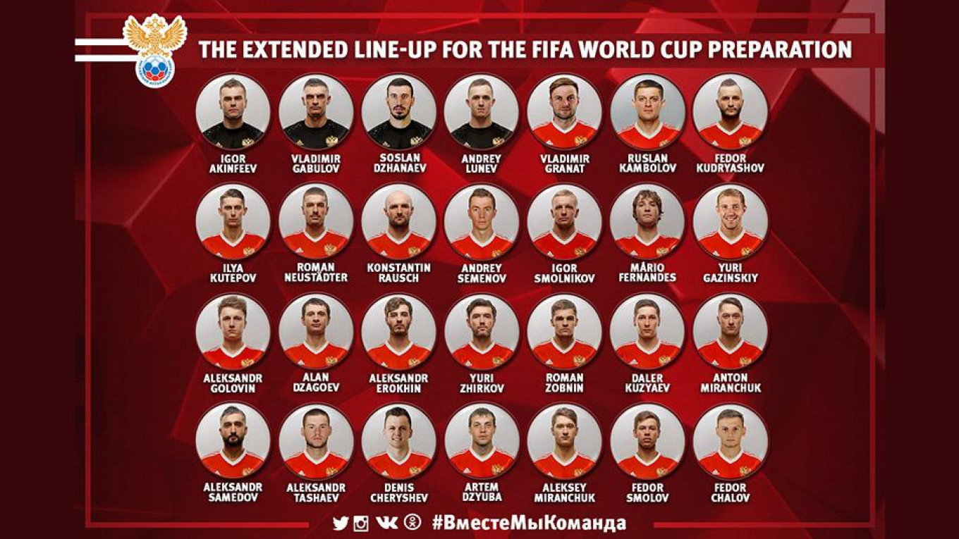 Host Russia Names Preliminary Squad for 2018 World Cup