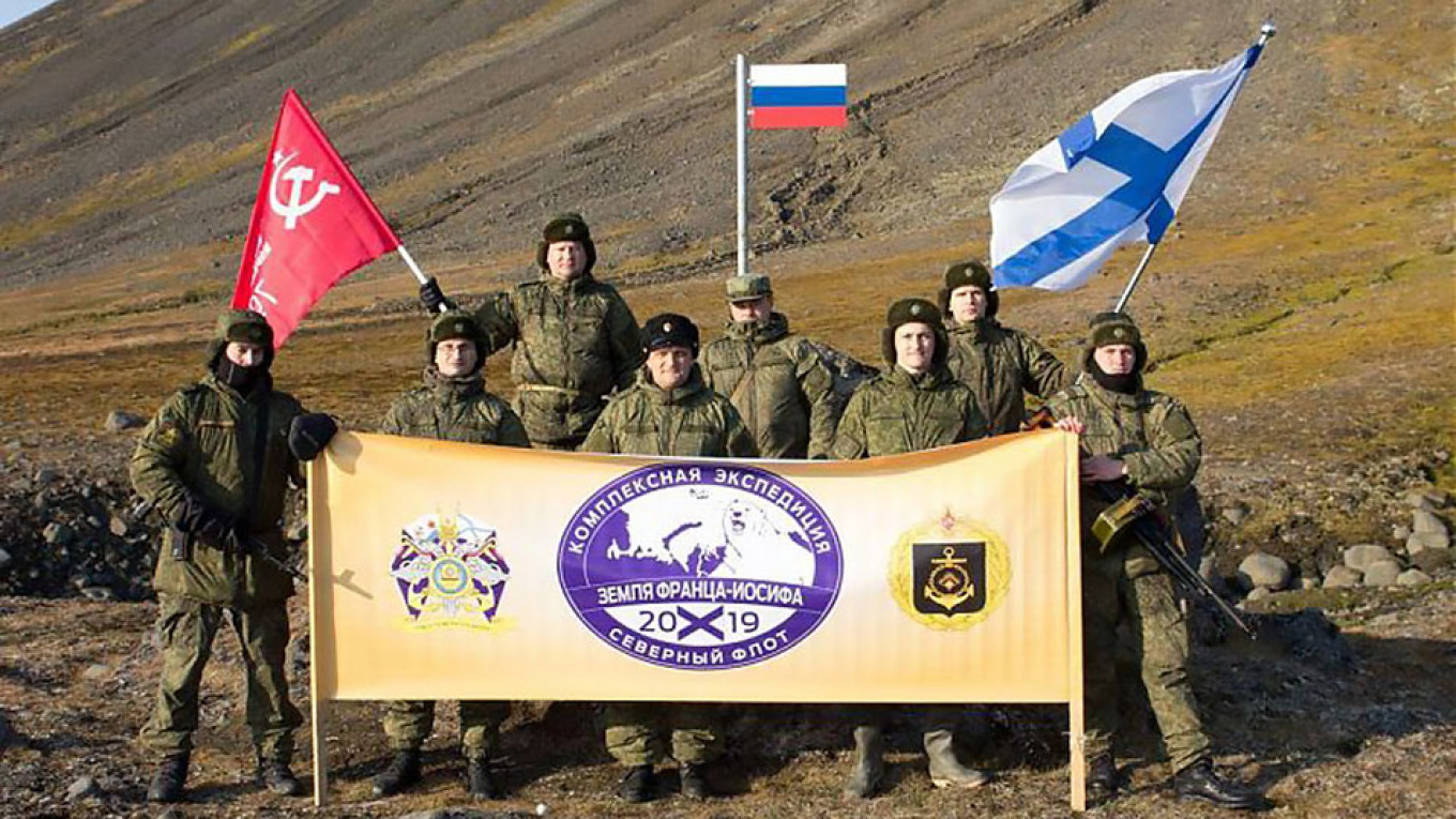 Russian Military Plants Flag at Northernmost Point of Eurasia