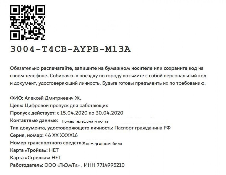 Как выглядит пропуск в Москве МТ