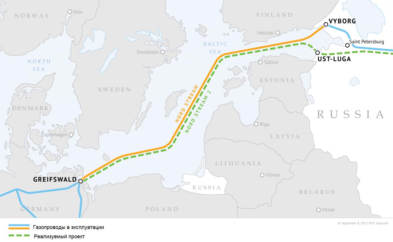 «Северный поток-2» проходит параллельно существующему «Северному потоку» по дну Балтийского моря через воды России, Финляндии, Швеции, Дании и Германии. «Газпром»